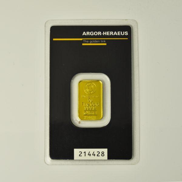| Lingote Argor - Heraeus de 5 gramos