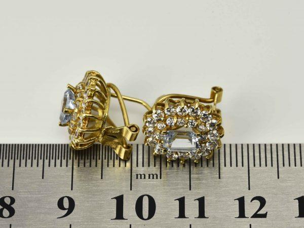 | Pendientes de oro 18K con topacios y circonias cúbicas