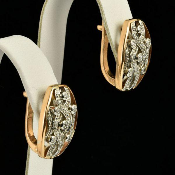 | Pendientes de oro 14K con diamantes