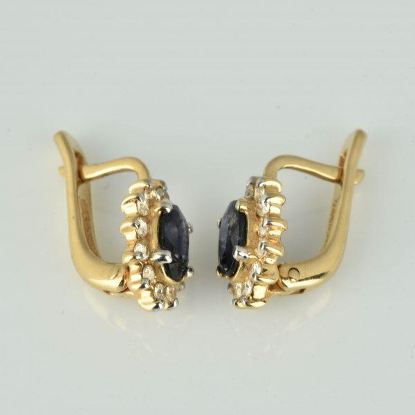 | Pendientes de oro 14K con zafiros y circonias cúbicas