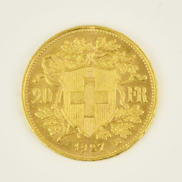 | Moneda Helvetia 1927 (20 francos)